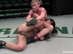 Tia Ling gets her Asian pussy destroyed with a strap-on by Ariel X