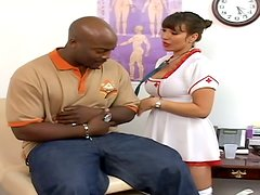 Busty MILF in nurse uniform rides big cock in interracial video
