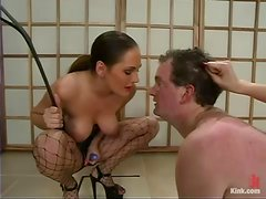 Two luxury bitches are dominating over this male slave