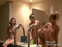 Teens shower and hang out in the tub