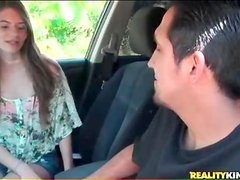 Sweet brunette teen blows him in the car