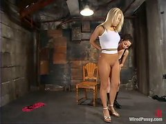 Mia Bangg gets her coochie toyed hard in BDSM scene
