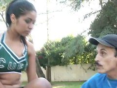 This cute cheerleader has a tight shaved pussy and she is fucking the gardener