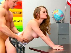 Shapely pale skin student girl gets eaten and fucked in college room