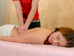Horny bride haired busty babe gets her first oil massage