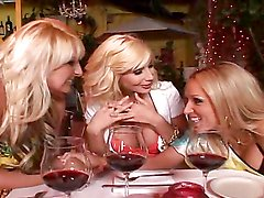 Sexy blonde milfs have a foursome with a big cock