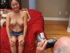 Nerdy Asian skank Yoko gets fucked by a lewd old man