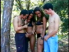 Two stunning chicks are in a group sex with two bisexuals