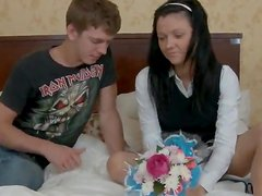 Russian teen in school uniform gets pounded in a bedroom