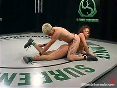 Syd Blakovich fucks Annie Cruz with a strapon after a wrestling match