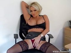 Dirty talking secretary Dannii Harwood strips and wanks