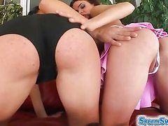 Cum swapping by two brunettes leaves them satisfied