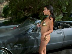 Fantastic Brunette Babe With Natural Tits Gives A Bikini Car Wash