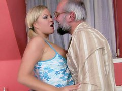 Super sexy and slutty blondie got fucked by an old perv
