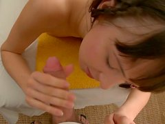 Cute brunette girl gives blowjob and gets shagged missionary style