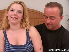 Chubby blond with big naturals is being pushed