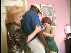 Lewd grannies Gigi and Kitty Foxx share a BBC in a bedroom
