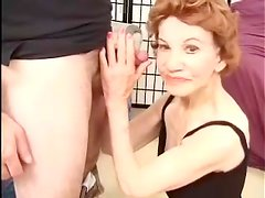 Nasty granny Gigi gives head and gets her old cunt pounded doggy style