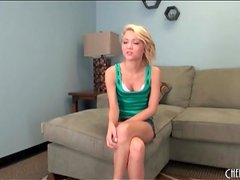 Skinny blue eyed blonde Dakota Skye strips
