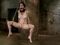Using Ropes to Suspend Scalet Faux from the Ceiling while Naked