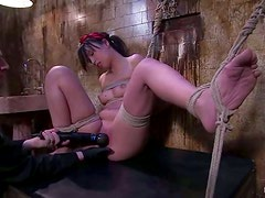 Sasha Yung gets her Asian holes toyed in amazing BDSM vid