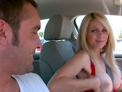 Luscious busty blonde cougar gives nice blowjob