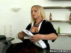Kinky blond milf is enjoying some attention