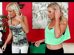 Gorgeous blonde milfs have a great lesbian moment