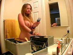 Honey is naked and she is getting ready for a party
