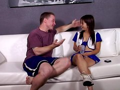 Asian cheerleader Asia Zo blows and gets fucked in many positions