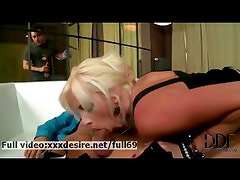 Bella Morgan _ Horny blonde sucking two big cocks
