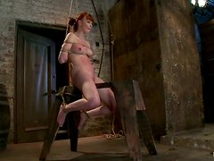Crazy BDSM Action in Bondage video with Tit Torture for Marie McCray