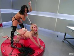Sandra Romain dominates nasty blonde Sarah Jane Ceylon and fucks her