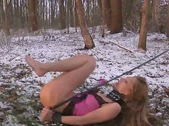 BDSM session of teen getting tied up and fucked on cold winter day