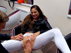 Curly-haired bitch gets her pussy fisted hard like never before