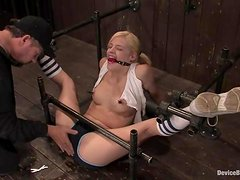 Nice blonde with pigtails gets her pussy toyed in bondage vid