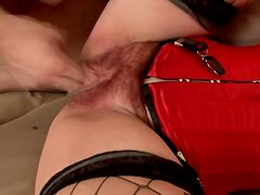 Mature brunette Eva gets her hairy vag toyed and fucked from behind