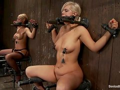 Two girls get their pussies toyed and tits tortured