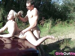 Petite blondie licked and nailed outdoors
