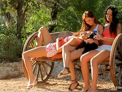 Three Sexy Teens Gets Anal Fucked Outdoors In Foursome