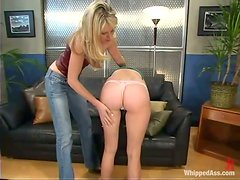 Tied up girl gets toyed and dominated on a sofa