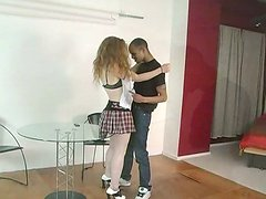 Pale-skinned blonde gets her snatch pounded by a black dude