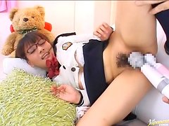 Filthy Japanese chick loves getting vibrated