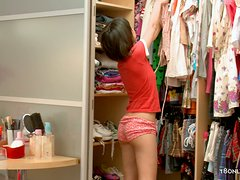 Hot Asian Girl Fucks Her Pussy with a Toy In Her Closet