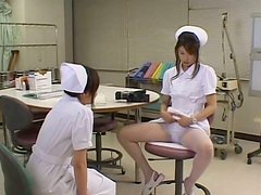 Filthy Asian nurse takes off her uniform playing with herself in front of camera