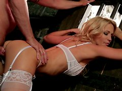 Filthy blonde bride with big hooters fucks hard in bed
