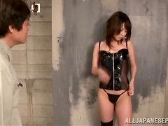 Handcuffed Guy Dominated and Face Sit by Japanese Girl in Latex Lingerie