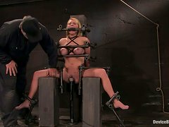 Toying Krissy Lynn's Pussy As She's Immobile in Bondage Device