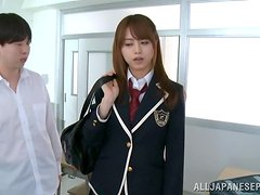 Cute japanese college girl sucks and fucks two horny classmates.