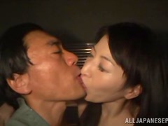 Gorgeous asian gives a handjob and gets her pussy nailed.
